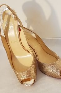 Christian Louboutin Shoes Gold Glitter Peep Hole
